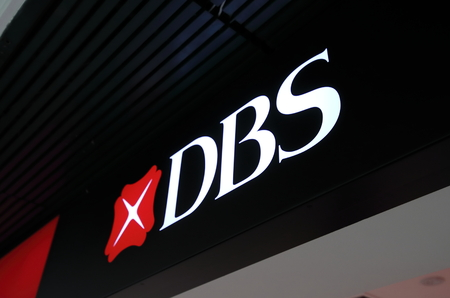 Singapore-November 16, 2018: DBS Bank company logo. DBS bank was set up by Government of Singapore and is the largest bank in Southeast Asia. Редакционное