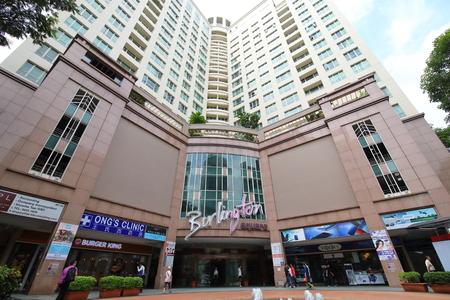 Singapore-November 16, 2018: Unidentified people visit Burlington Square shopping mall in Singapore.