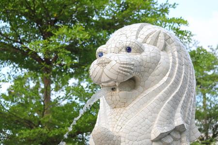 Singapore-November 18, 2018: Merlion statue in Merlion park Singapore Editorial