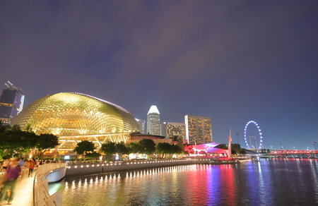 Singapore night cityscape Editorial