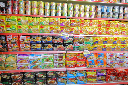 Kuala Lumpur Malaysia - November 22, 2018: Asian instant noodles display at Asian grocery store in Kuala Lumpur Malaysia