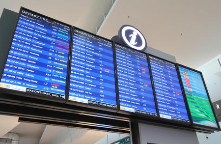 Kuala Lumpur Malaysia - November 23, 2018: Information board displays departure time at KLIA airport in Kuala Lumpur Malay SIA