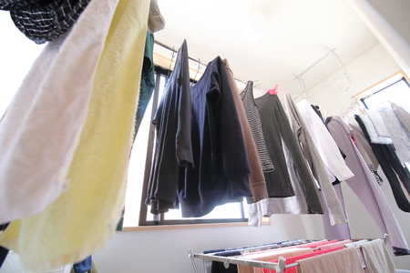 indoor laundry washing line clothes hanging