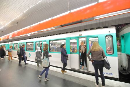 Paris France - May 22, 2019: People commute by subway Paris France