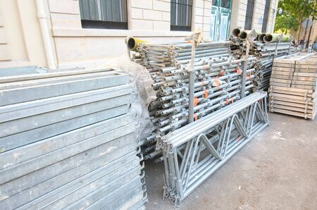 Construction scaffolding piled up in Paris France