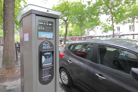 Paris France - May 25, 2019: Electricity charging stand for EV cars Paris France
