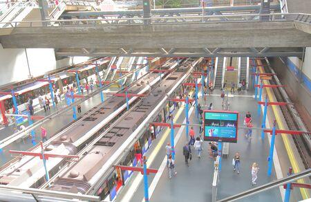 Madrid Spain - May 27, 2019: People travel Principe Pio train station Madrid Spain