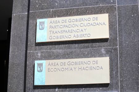 Madrid Spain - May 28, 2019: Ministry of Economy and finance, Ministry of citizen participation and transparency of govern ment office