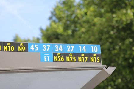 Bus number display at bus stop in Madrid Spain