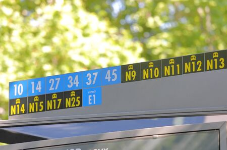 Bus number display at bus stop in Madrid Spain Archivio Fotografico