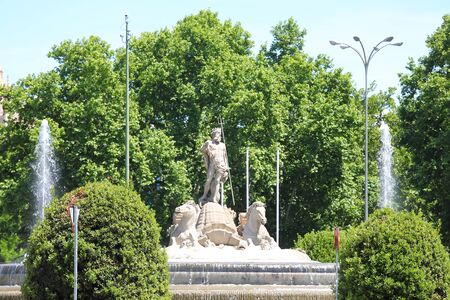 Neptunbrunnen historisches Denkmal Madrid Spanien Standard-Bild