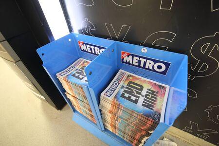 London England - May 31, 2019: Metro newspaper free London England