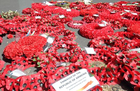 London England - June 1, 2019: Flowers at The Cenotaph National war memorial remembrance site London UK