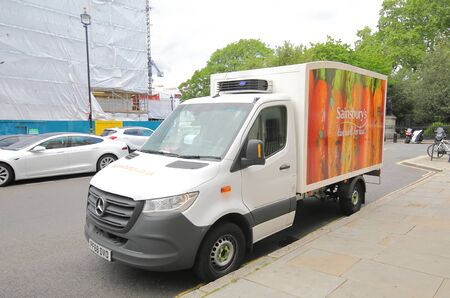 London England - June 3, 2019: Sainsburys supermarket delivery truck parked in downtown London UK