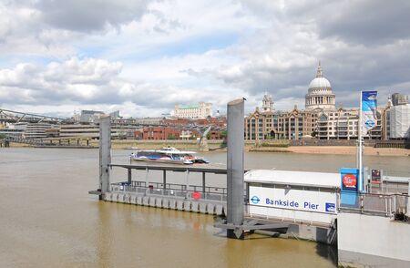 London England - June 5, 2019: Bankside pier river Thames boat station London UK