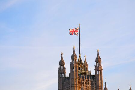 Palace of Westminster and Union Jack flag London England Banco de Imagens