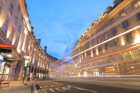Regent street shopping night cityscape London UK