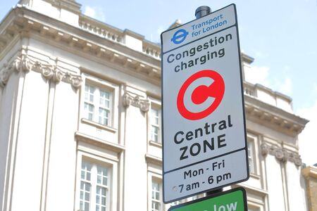 Congestion charge point sign London UK