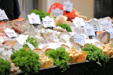 Seafood display Borough market London UK Stock fotó
