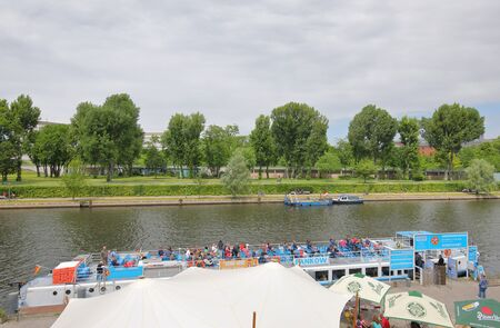 Berlin Germany - June 8, 2019: People take Spree river cruise in Berlin Germany