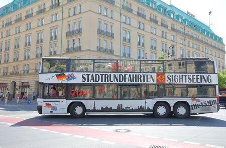Berlin Germany - June 8, 2019: People travel by tourist bus Berlin Germany Redactioneel