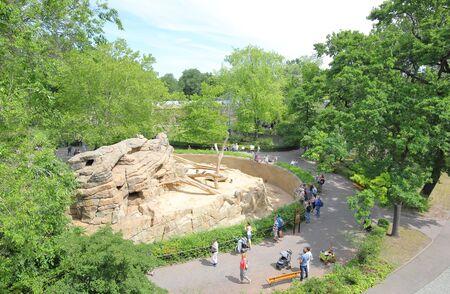 Berlin Germany - June 9, 2019: People visit Berlin Zoo garden Germany