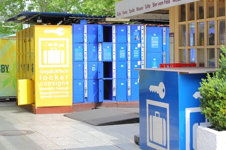 Berlin Germany - June 10, 2019: Coin locker in Alexanderplatz Berlin Germany Editorial