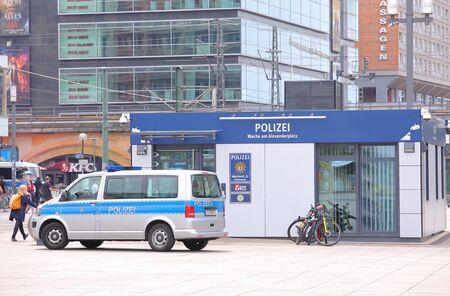 Berlin Germany - June 10, 2019: Police station at Alexanderplatz square Berlin Germany