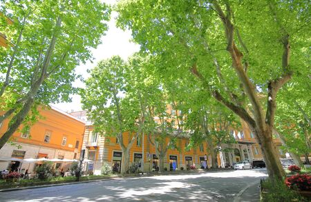 Rome Italy - June 13, 2019: People visit Via Vittorio Veneto shopping street Rome Italy