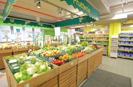 Rome Italy - June 15, 2019: Vegetable display at Todis supermarket Rome