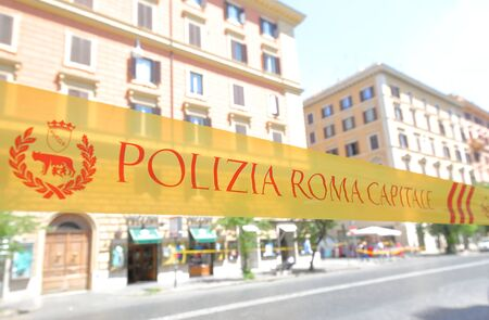 Rome Italy - June 16, 2019: Rome Capitol Police cordoned off Rome