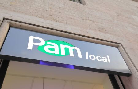 Rome Italy - June 18, 2019: Pam local supermarket Italy