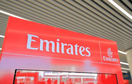 Rome Italy - June 19, 2019: Emirates Airlines company United Arab Emirates