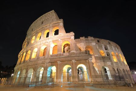Colosseum historical building night Rome Italy