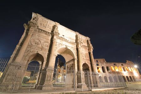 Arch of Constantine gate Foro Romano Rome Italy Banco de Imagens
