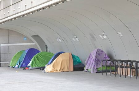 Homeless tent in downtown Paris France