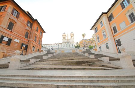 Spanish steps and Trinita dei Monte church Rome Italy Stock fotó