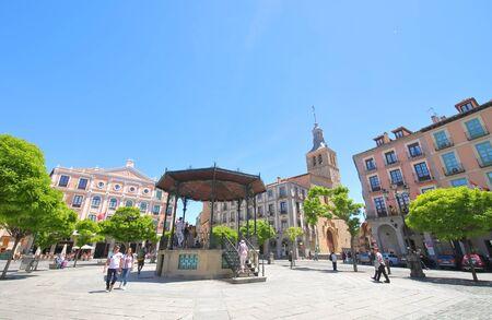 Segovia Spain - May 29, 2019: People visit Plaza Mayor square old town Segovia Spain