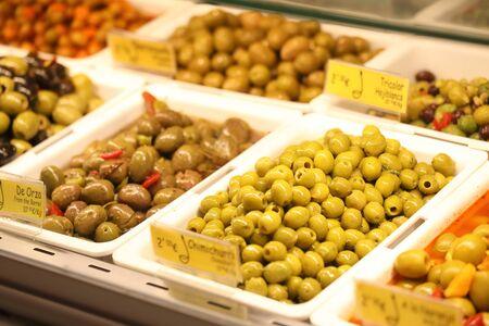 Spanish food tapas display at Mercado de San Miguel market Madrid Spain 写真素材