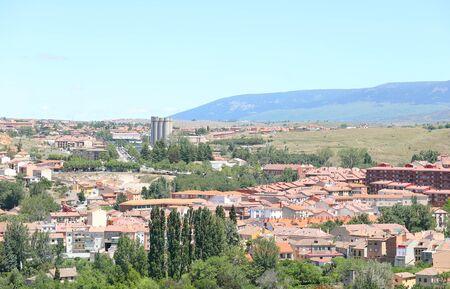 Terracotta roof tiles building old town cityscape Segovia Spain
