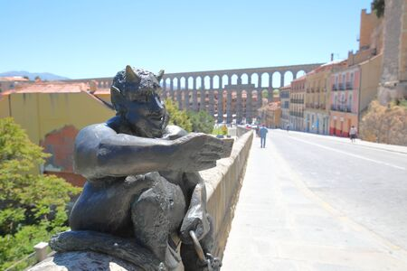 Selfie statue and cityscape Segovia Spain