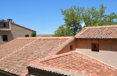 Terracotta roof tiles old building Segovia Spain Banque d'images