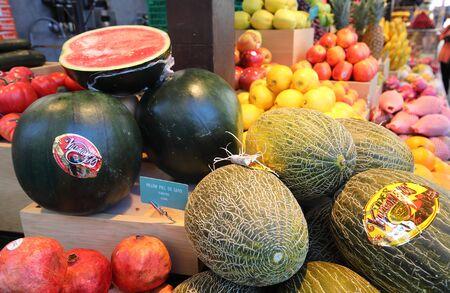 Madrid Spain - May 27, 2019: Tropical fruits display at Mercado de San Miguel market Madrid Spain