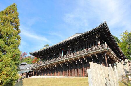 Nara Japan - November 10, 2019: Unidentified people visit Todaiji temple Nigatsudo Nara Japan 報道画像