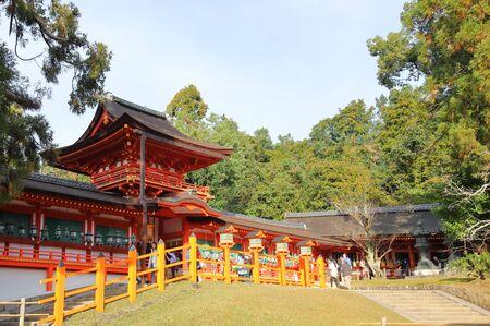 Nara Japan - November 10, 2019: Unidentified people visit Kasuga Taisha shrine Nara park Nara Japan