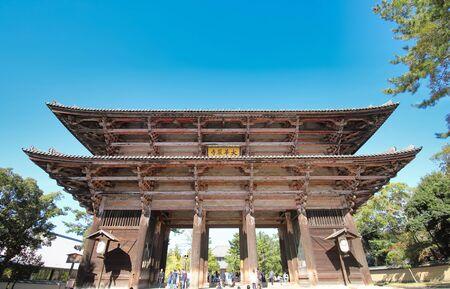 Nara Japan - November 10, 2019: Unidentified people visit Todaiji temple Nandaimon gate Nara Japan 報道画像