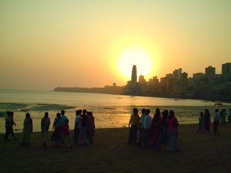 Silhouette of city during sunset - Mumbai ,India Stock Photo - 849827