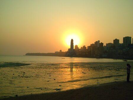 Silhouette of city during sunset - Mumbai ,India Stock Photo - 849825