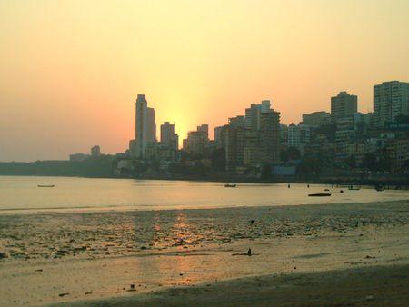 Silhouette of city during sunset - Mumbai ,India Stock Photo - 849824