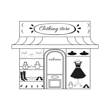 clothing store: Boutique. Womens clothing store in vector. Window shopping with small black dress, shoes, bags and hat.  Hand drawn vector illustration of european building for city landscape.